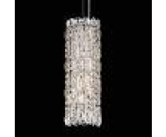 SCHONBEK Estrecha lámpara colgante Sarella, cristal plata