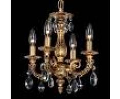 SCHONBEK Lámpara de araña Milano con cristales, 4 llamas