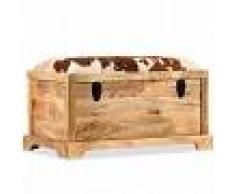 vidaXL Banco de almacenamiento madera maciza y cuero real 80x44x44 cm