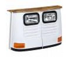 vidaXL Aparador con forma de camión madera de mango maciza blanco
