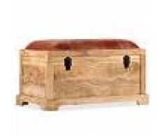 vidaXL Banco de almacenamiento madera maciza cuero real 80x44x44 cm
