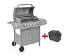 vidaXL Barbacoa grill de gas 6+1 quemadores plateada