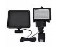 vidaXL Lámpara solar foco de LED de exterior con sensor, negra