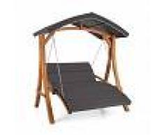 Blumfeldt Aruba Columpio de jardín con toldo 130 cm 2 asientos Madera Gris (GDW1-Aruba GR)