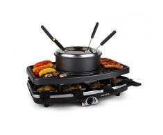 Klarstein Entrecote-Fondle Raclette con grill Piedra natural Fondue 1100W 8 pers (GQ6-ENTRECOTE-FONDLE)