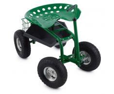 Waldbeck Park Ranger Silla de jardín 130 kg Con ruedas Compartimento de almacenaje Acero verde (GDI7-Park-Ranger)