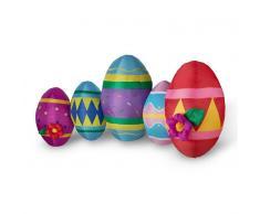 OneConcept Egg Family Huevos de Pascua hinchables Decoración de Pascua 120cm Fuelle LED (LEH-Egg-Family)
