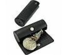 Vie-Long S.L. Brochas Accesorios Caja redonda para brochas de afeitar Piel de vacuno plena flor Amalfi, negro 1 Stk.