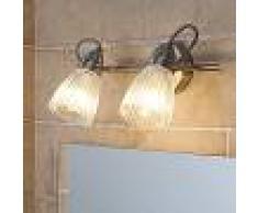 LAMPENWELT.COM Aplique LED Kara para baño con vidrio acanalado