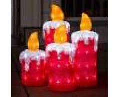 KONSTSMIDE Set de 4 velas de Adviento, decoración exterior