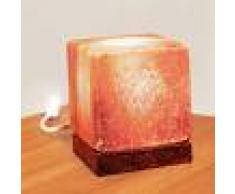 WAGNER LIFE Lámpara de sal de mesa Cubo, base de madera