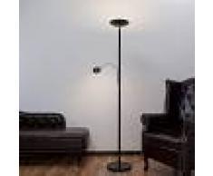 LAMPENWELT.COM Lámpara LED de pie Malea con luz de lectura, negra