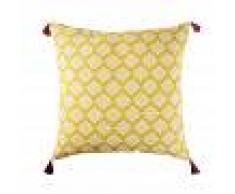 Maisons du Monde Cojín de suelo para exterior de algodón amarillo con motivos decorativos 80x80