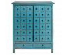 Maisons du Monde Cajonera con 2 puertas y 2 cajones de abeto azul envejecido Baho