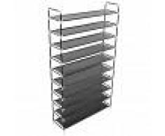 vidaXL Zapatero con 10 estantes de metal y textil no tejido negro