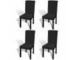 vidaXL Funda de silla elástica recta 4 unidades negra