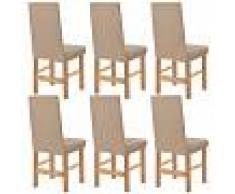 vidaXL Funda elástica para silla beige piqué 6 unidades