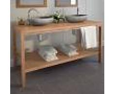 vidaXL Mueble de lavabo tocador madera de teca maciza 132x45x75 cm