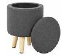 vidaXL Taburete con almacenaje tela redondo 24x32 cm gris oscuro