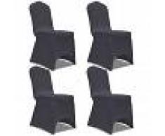 vidaXL Funda de silla elástica 4 unidades gris antracita
