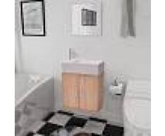 vidaXL Conjunto de mueble y lavabo 3 piezas beige