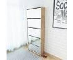 vidaXL Mueble zapatero 5 cajones con espejo roble 63x17x169,5 cm