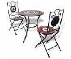 vidaXL Set de mesa y sillas de jardín mosaico 60 cm terracota/blanco