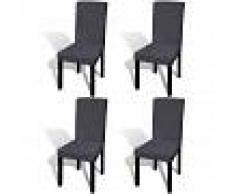 vidaXL Funda para silla elástica recta 4 unidades gris antracita