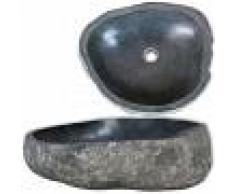 vidaXL Lavabo de piedra natural ovalado 40-45 cm