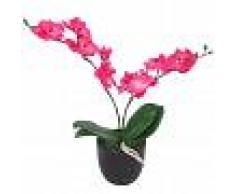 vidaXL Planta artificial orquídea con macetero 30 cm roja