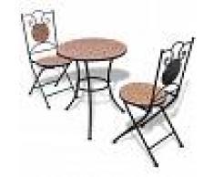 vidaXL Juego de mesa y sillas de jardín con mosaico 60 cm terracota