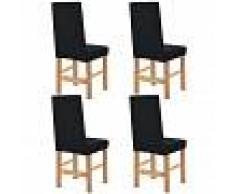 vidaXL Funda elástica para silla de franja ancha negra 4 unidades