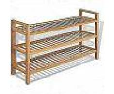 VidaXL Zapatero con 3 estantes roble macizo 100x27x59,5 cm