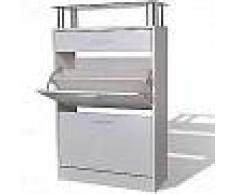 VidaXL Mueble zapatero con cajón y estante superior de vidrio blanco