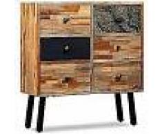 VidaXL Aparador con 6 cajones madera de teca reciclada 70x30x76 cm