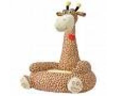 vidaXL Silla de peluche para niños jirafa marrón