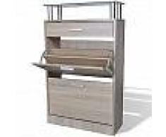 VidaXL Mueble zapatero con un cajón y y estante superior de vidrio