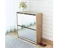 VidaXL Mueble zapatero de roble 2 compartimentos con espejo 63x17x67cm