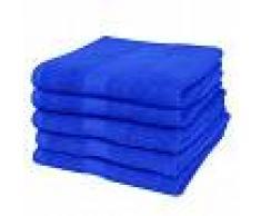 vidaXL Toallas de baño 5 uds algodón 500 gsm 100x150 cm azul klein