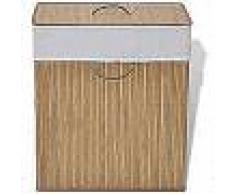 VidaXL cesto de colada rectangular de bambú color natural