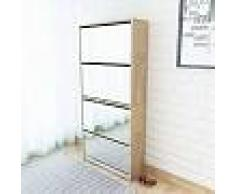 VidaXL Mueble zapatero 4 cajones con espejo roble 63x17x134 cm