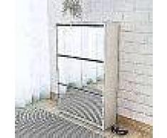 VidaXL Mueble zapatero blanco 3 compartimentos con espejo 63x17x102,5 cm