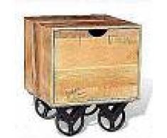 VidaXL Mesa auxiliar con cajón y ruedas madera de mango 40x40x45 cm