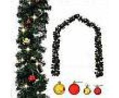 VidaXL Guirnalda de Navidad decorada con bolas y luces LED 5 m