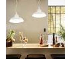 vidaXL Lámparas de techo 2 unidades redondas blanco E27