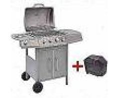 VidaXL Barbacoa grill de gas 4+1 quemadores plateada