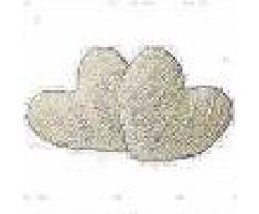 VidaXL Cojines en forma de corazón 2 unidades pelo sintético crema