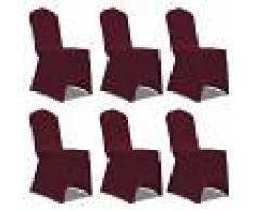 vidaXL Set de 6 Fundas ajustadas para sillas, color rojo burdeos