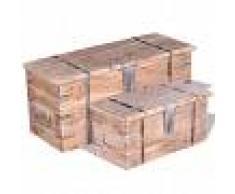vidaXL Set de baúl de almacenamiento de madera de acacia 2 unidades