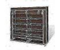 VidaXL Zapatero de tela con cubierta 115x28x110 cm marrón